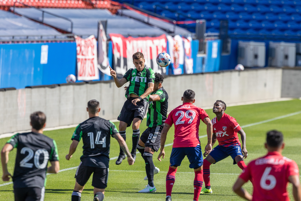 Austin FC soccer players during a game