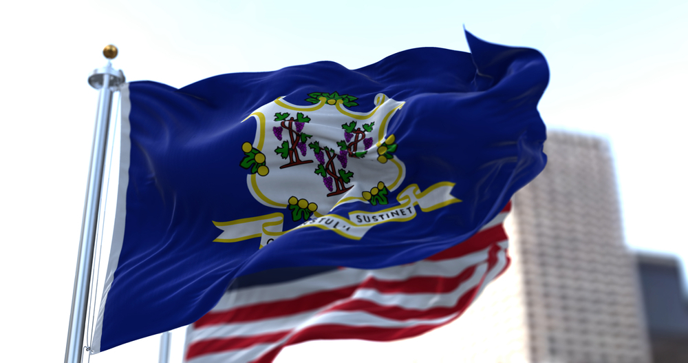 Connecticut and US flags