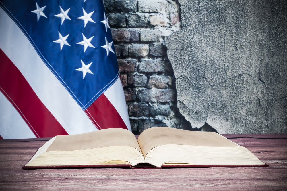 A book with US flag