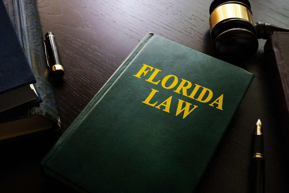 Florida law book with gavel