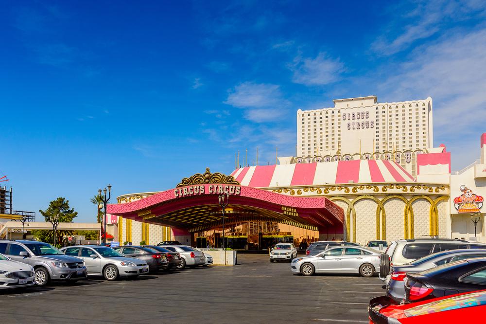facade of the Circus Circus casino property in Las Vegas