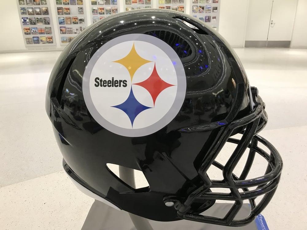 Pittsburgh Steelers helmet on display
