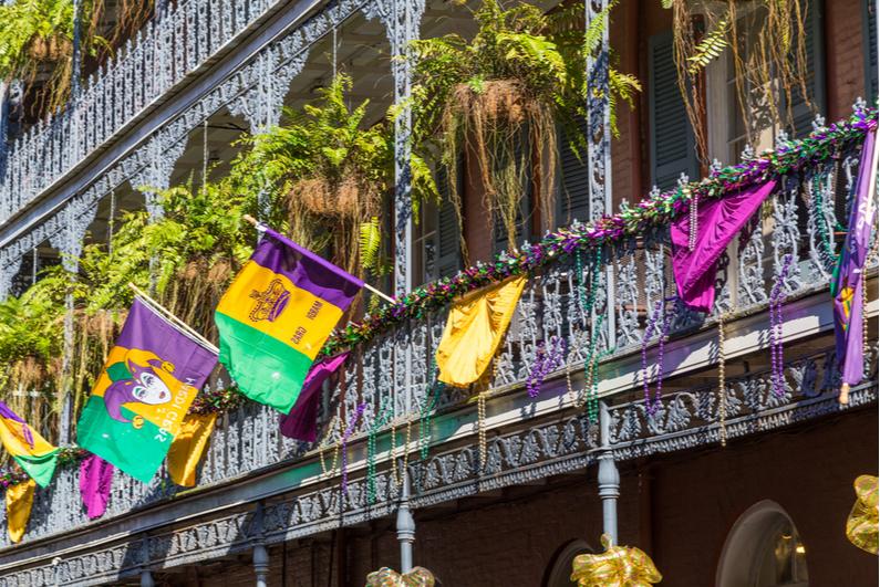 Bourbon Street decorations during Mardi Gras