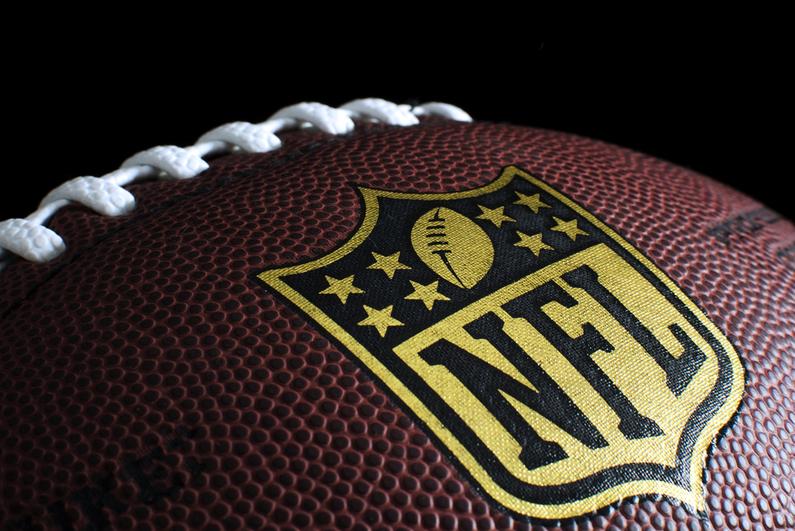 NFL football closeup