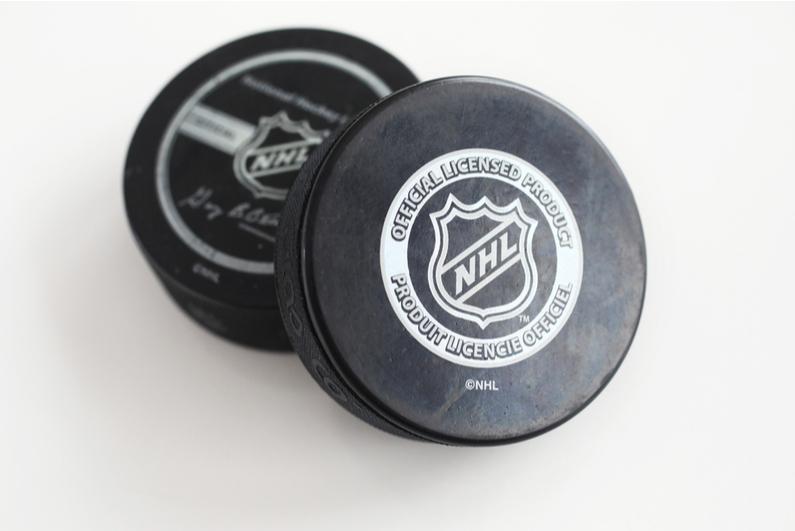NHL-branded hockey pucks