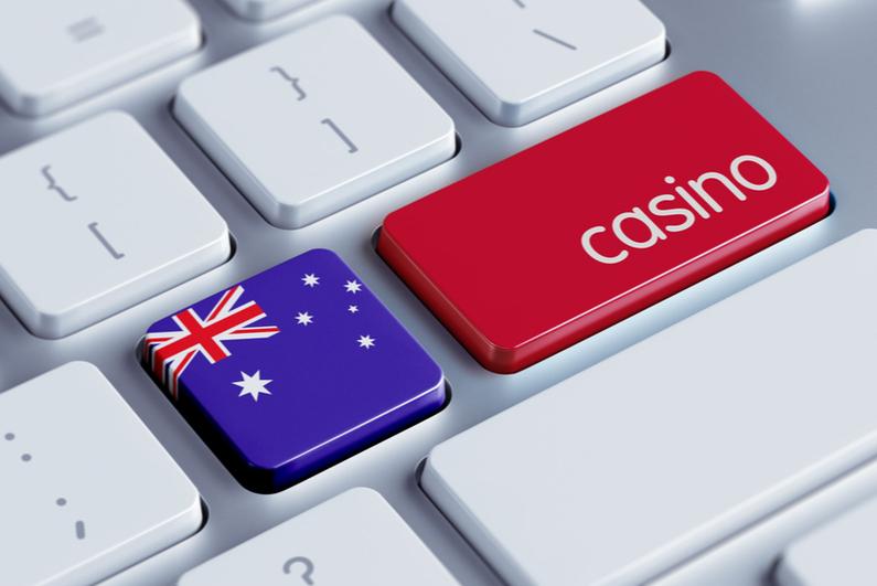 Australian flag with casino on keyboard