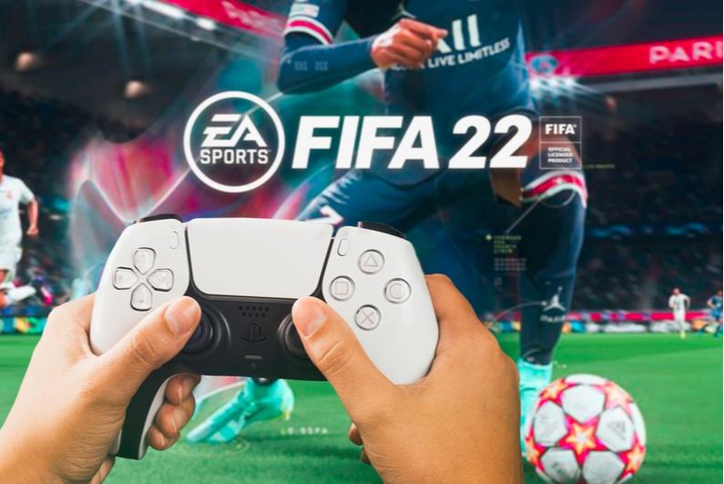 gamer playing FIFA 22