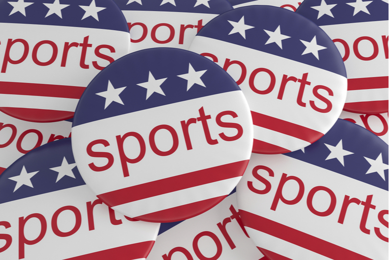 """Red, white, and blue buttons reading """"sports"""""""