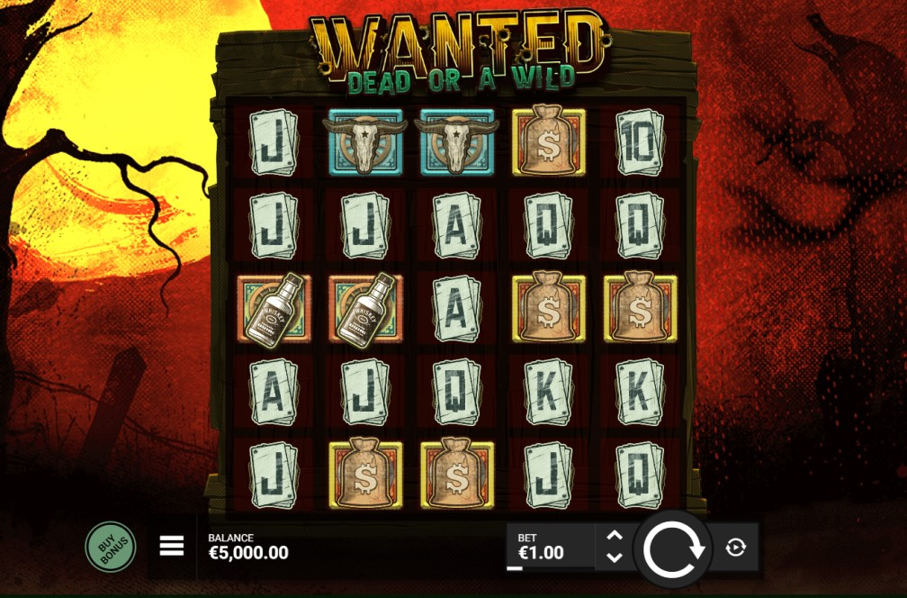 Wanted Dead or a Wild slot reels by Hacksaw Gaming